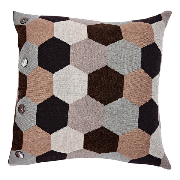 Honey square cushion - Fudge (front)