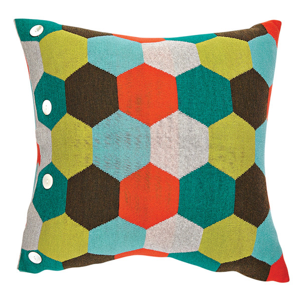Honey square cushion - Jade (front)