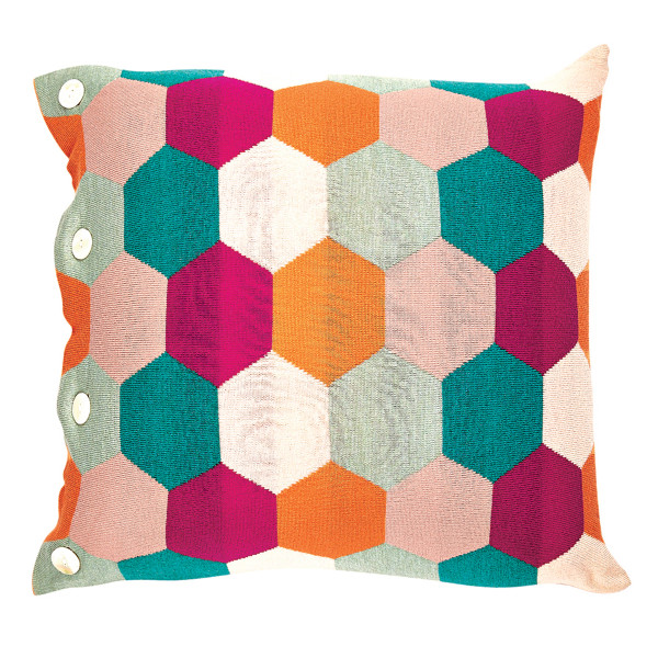Honey square cushion - Raspberry (front)