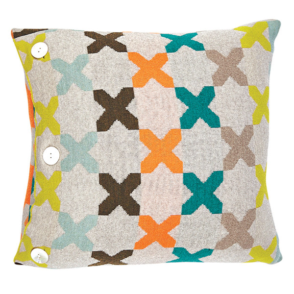 Kisses square cushion - Jade (front)