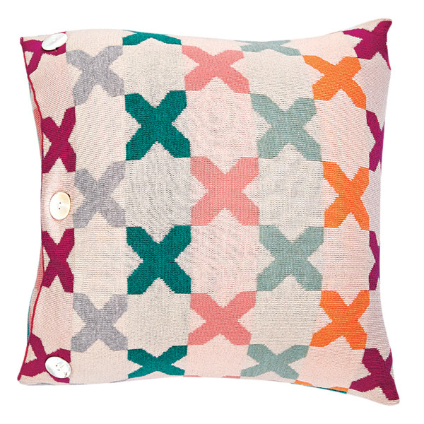 Kisses square cushion - Raspberry (front)
