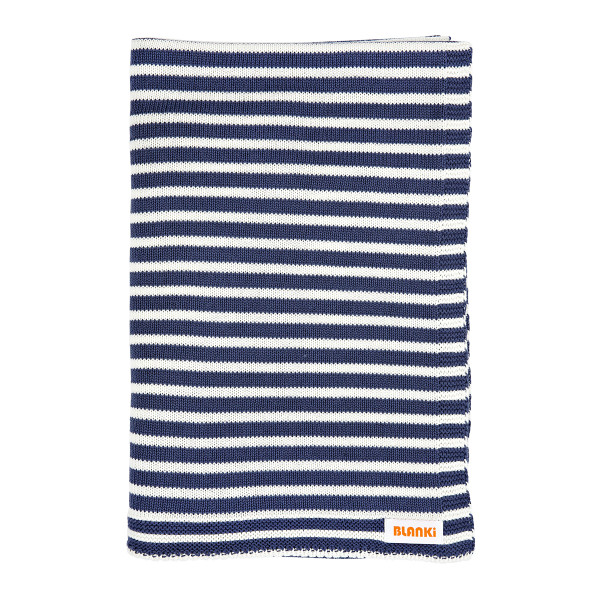 Blanki line them up blanket - Indigo - Folded