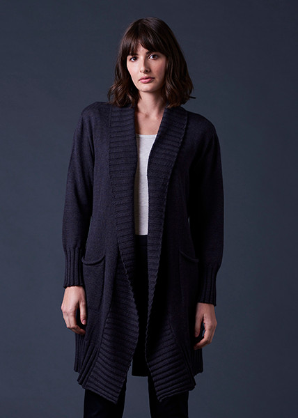 Juno Cardigan - Blackcurrant (front)