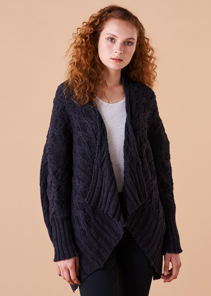 Mabel Cardigan - Blackcurrant (front)