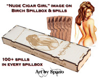 """Nude Cigar Girl"" Birch Spillbox with Image"