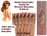 """Nude Cigar Girl"" Walnut Spillbox with Image"