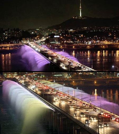 Famous outdoor fountain in South Korea.