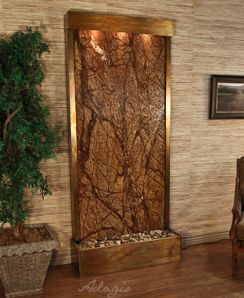 Tranquil River Floor Fountain with Rustic Copper Trim and Brown Rainforest Marble