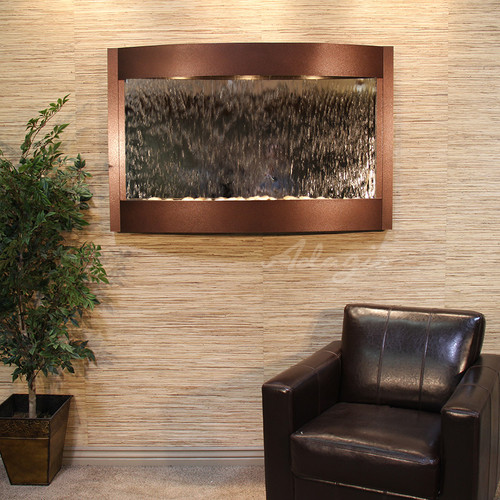 Calming Waters Wall Fountain with Copper Vein Frame and Silver Mirror Water Panel