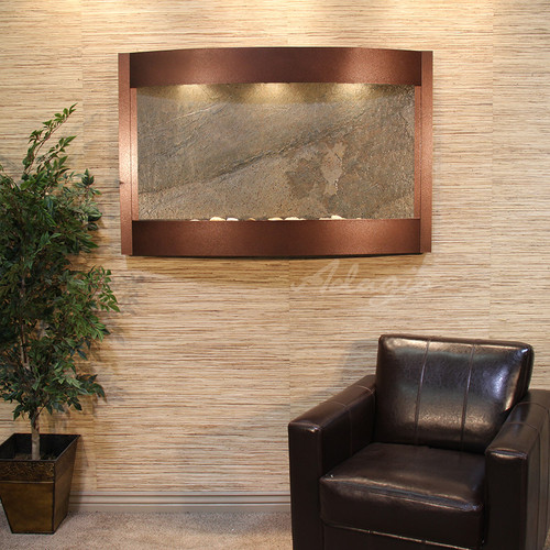 Calming Waters Wall Fountain with Copper Vein Frame and Green Featherstone Water Panel