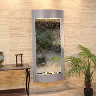 Pacifica Waters Wall Fountain with Silver Metallic Frame and Silver Mirror Water Panel