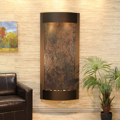 Pacifica Waters Wall Fountain with Woodland Brown Frame and Multicolor Featherstone