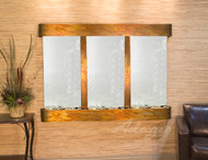 Olympus Falls Wall Fountain with Rustic Copper Frame and Silver Mirror Water Panel