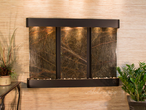 Olympus Falls Wall Fountain with Blackened Copper Frame and Green Rainforest Marble