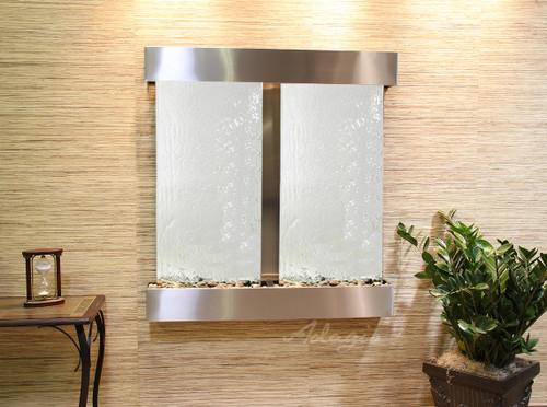 Aspen Falls Wall Fountain with Stainless Steel Frame and Silver Mirror Water Panel