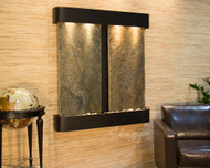 Aspen Falls Wall Fountain with Blackened Copper Frame and Green Slate