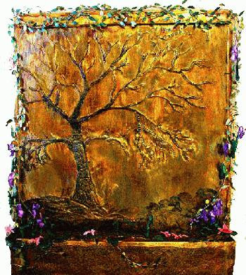 8-Foot Golden Oak Art Fountain