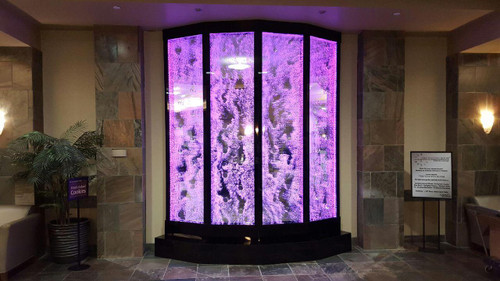 Water Gallery custom bubble wall installed on a curve