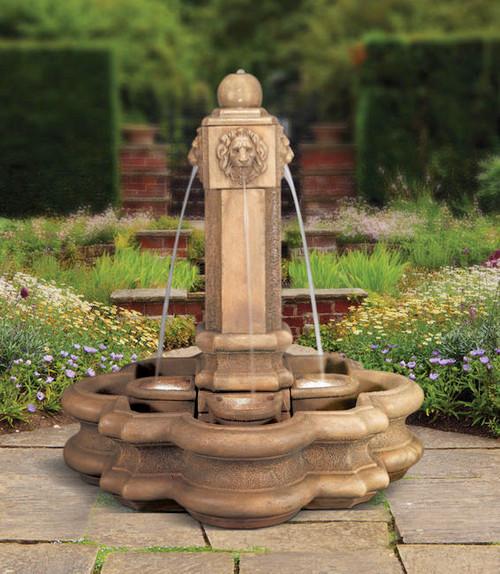Henri Studio classic lion pillar fountain
