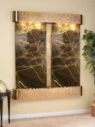 Rustic Copper Trim with Green Marble