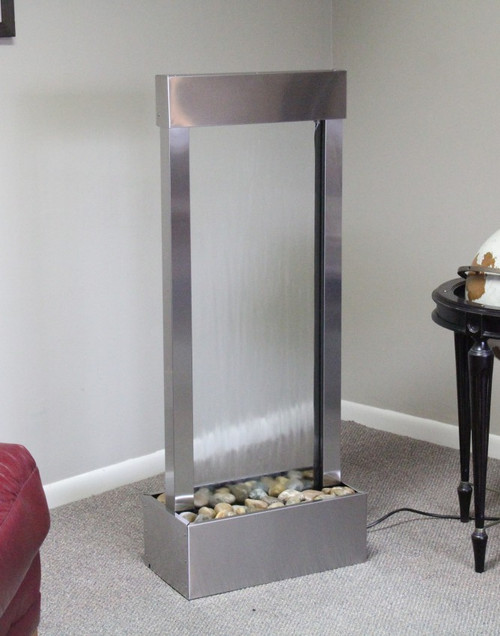 Bantam River Fountain shown in stainless steel with clear glass