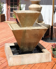 Gist Decor Double Oblique Outdoor Stone Fountain Shown in Sierra finish