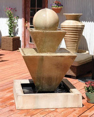 Gist Decor Double Oblique with Ball Outdoor Stone Fountain Shown in Sierra finish.