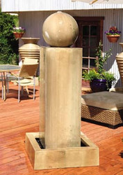 Gist Decor Monolith with Ball Outdoor Stone Fountain shown in Sierra finish