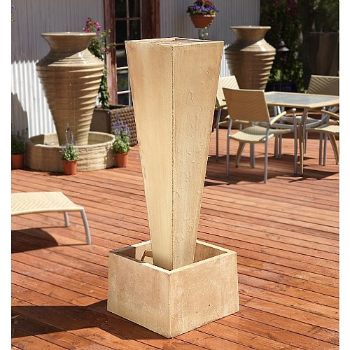 Gist Decor Spire Outdoor Stone Fountain shown in Desert Rose finish