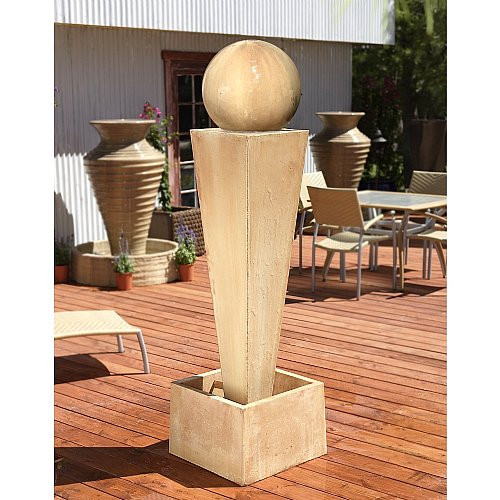 Gist Decor Spire with Ball Outdoor Stone Fountain shown in Desert Rose finish