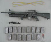 """ACE - M16 A1 Rifle """"Three Prong Flash Hider Vision"""" w/ XM148 Grenade Launcher -  X16 20 Rd Magazines"""