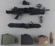Crazy Dummy - Machine Gun - MK.46 Para - X2 Box Magazine - Box Magazine /w Woodland Camo Cover - Strap - EOTech Sight - Foregrip - Laser Sight- Black/Olive