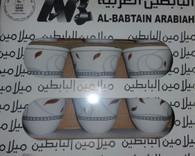 فناجين قهوة ميلامين البابطين- بني مزخرف Arabic Coffee Cups - Brown