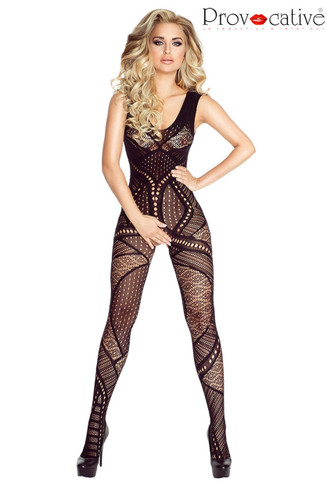 Provocative Fishnet Geometric Bodystocking Dress