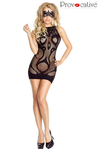 Provocative Sexy Fishnet Mini Dress