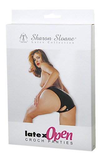Sharon Sloane Latex Open Crotch Panties Black ~ Small