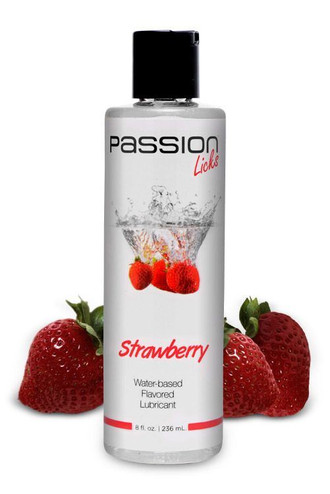 Passion Licks Strawberry Water Based Flavored Lubricant - 8 oz / 236 ml