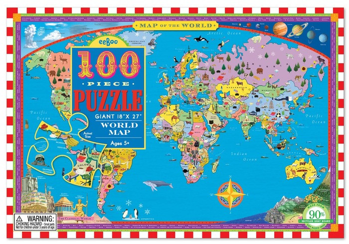Map of the World 100 Piece Jigsaw Puzzle by Eeboo