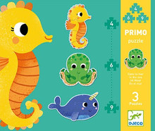 In The Sea 3, 4, and 5 piece  Primo Puzzles by Djeco