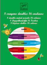 8 Twin Double Ended Crayons By Djeco