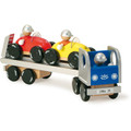Wooden Car Hauler and Racing Cars by Vilac