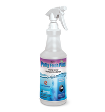 Spray odor deodorizer for portable restroom.