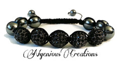 BLACK CRYSTAL SHAMBALLA BRACELET (FOR MEN OR WOMEN)