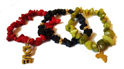 RED BLACK AND GREEN NUGGET BRACELET SET