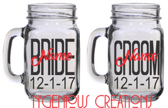 PERSONALIZED BRIDE AN GROOM MASON JARS (2PC SET)