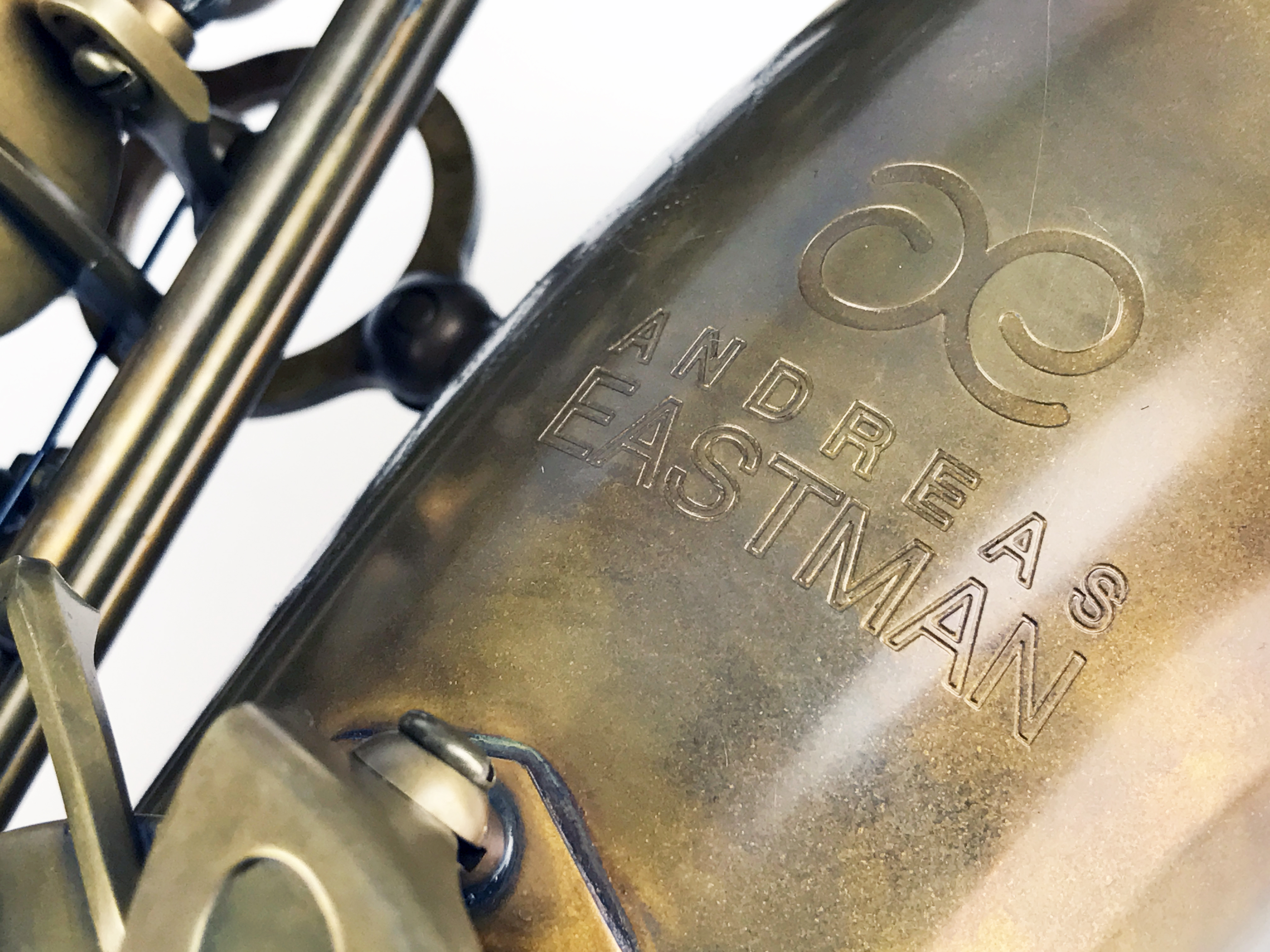 Logo of Eastman brand on the bell of a Eastman 52nd Alto Saxophone EAS652RL