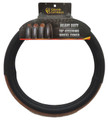 18 inch Deluxe Black with Dark Wood Look Smooth Steering Wheel Cover