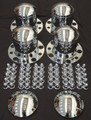 Chrome Axle Cover Top Hat with Removable Hubcap - Set of 4