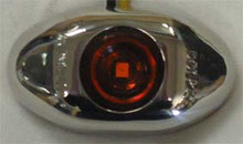 Amber 2 inch Oval LED Side Marker Light, with Amber Lens and Stainless Steel Surround. 12 Volt Only.