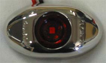 Red 2 inch Oval LED Side Marker Light, with Red Lens and Stainless Steel Surround. 12 Volt Only.